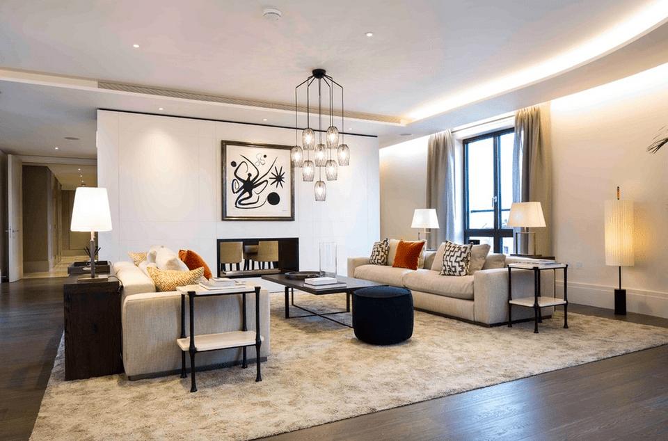 освещение гостиной современный стиль