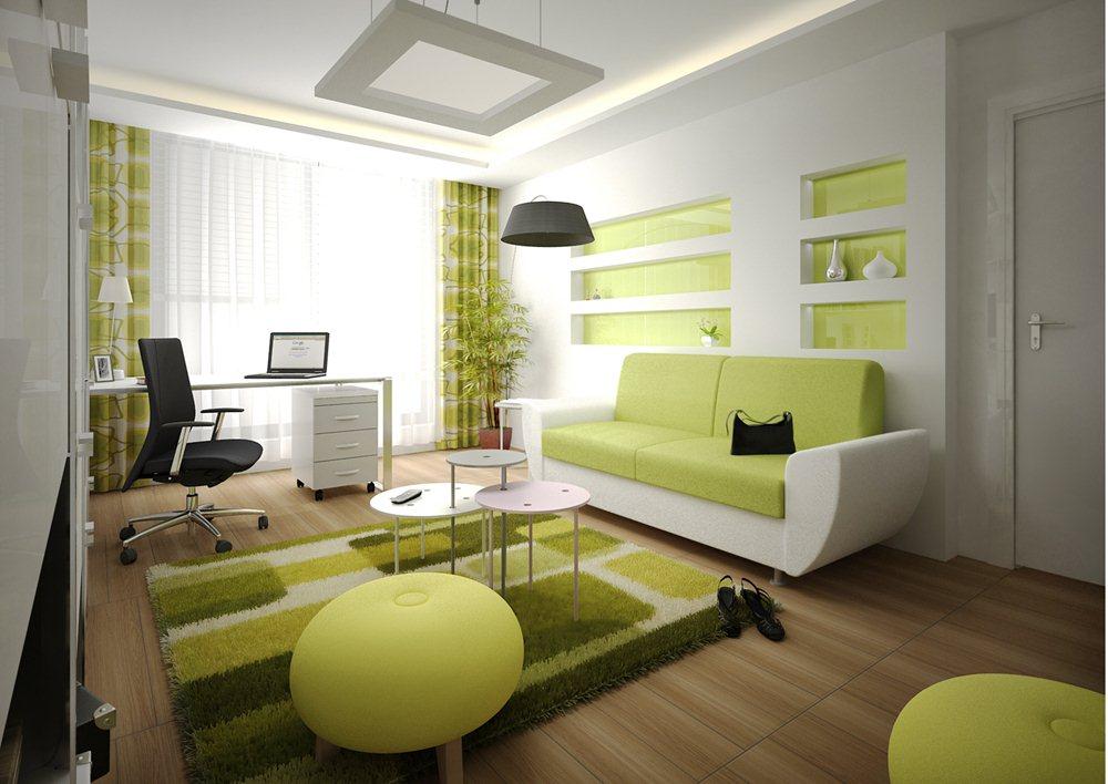 оливковый дизайн гостиной