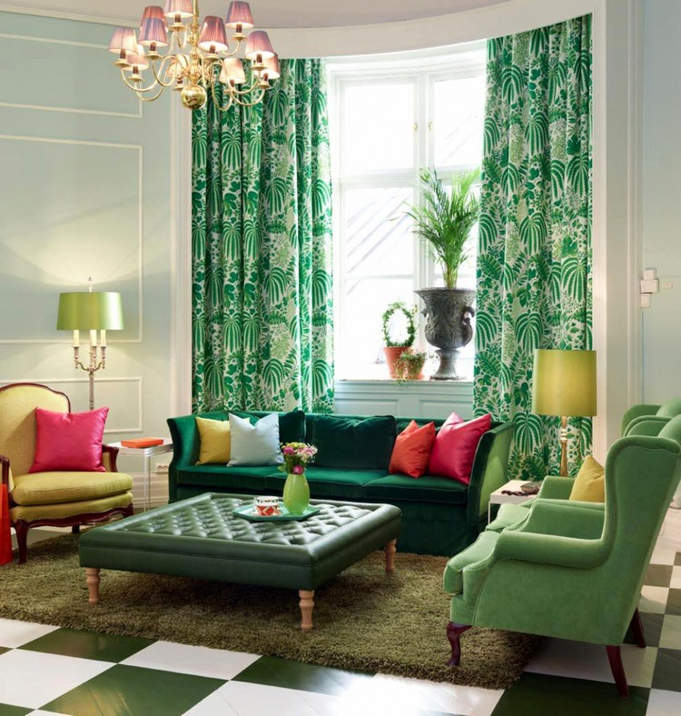 зеленые шторы в гостиной