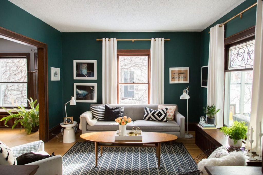 гостиная темно зеленая